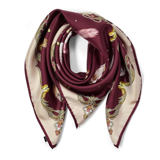 Aspinal Feather Silk Scarf in Burgundy from Aspinal of London