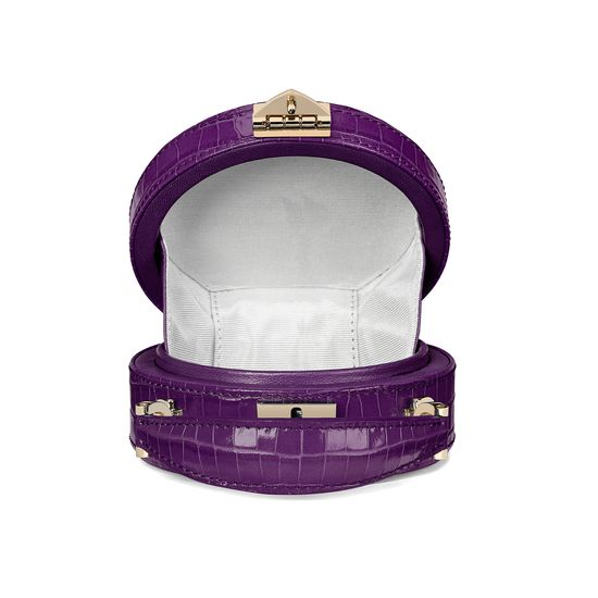 Micro Hat Box in Deep Shine Amethyst Small Croc from Aspinal of London