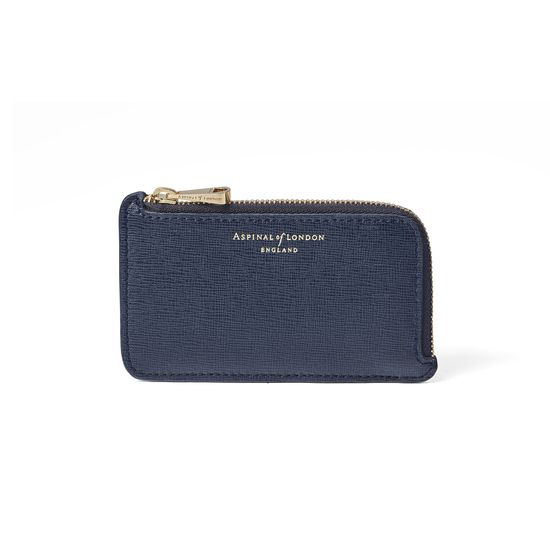 Small Zipped Coin Purse in Navy Saffiano from Aspinal of London
