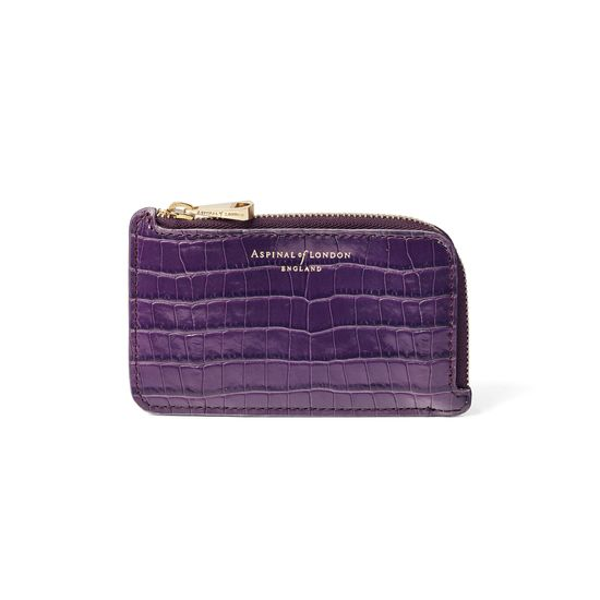 Small Zipped Coin Purse in Amethyst Small Croc from Aspinal of London