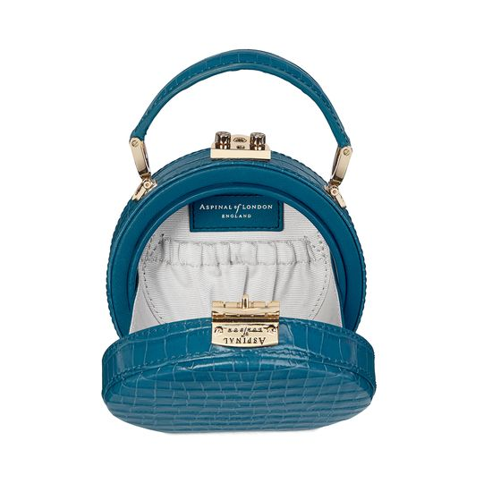 Micro Hat Box in Deep Shine Topaz Small Croc from Aspinal of London