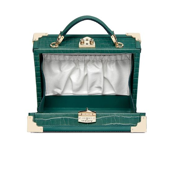 Mini Trunk Clutch in Deep Shine Sage Small Croc from Aspinal of London