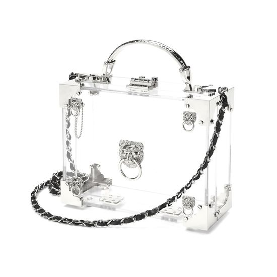 Lion Mini Trunk Clutch in Transparent Acrylic with Silver Hardware from Aspinal of London