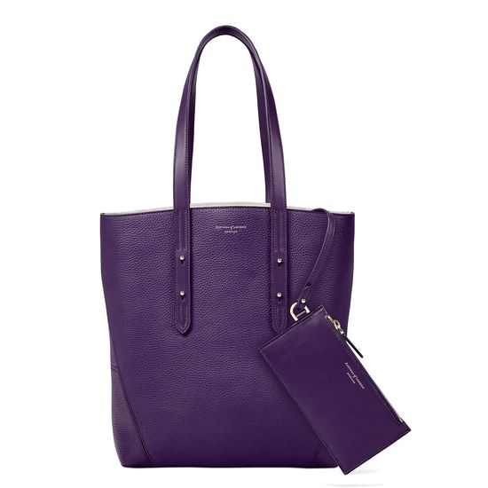 Essential Tote in Amethyst Pebble (with A-Stitched Side Panels) from Aspinal of London