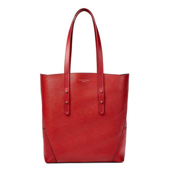 Essential Tote in Scarlet Saffiano (with A-Stitched Side Panels) from Aspinal of London