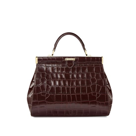 Small Florence Frame Bag in Deep Shine Amazon Brown Croc from Aspinal of London