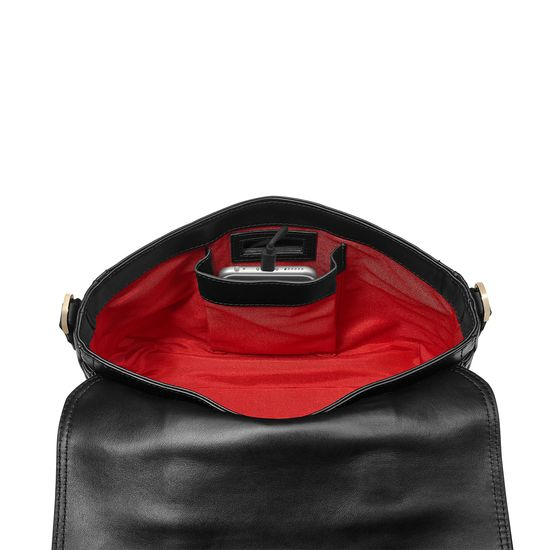 Small City Mollie Satchel in Black Pebble from Aspinal of London