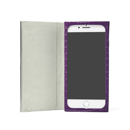 iPhone 7/8 Leather Book Case in Deep Shine Amethyst Small Croc from Aspinal of London