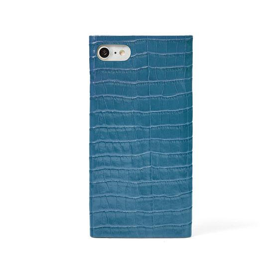 iPhone 7/8 Leather Book Case in Deep Shine Topaz Small Croc from Aspinal of London