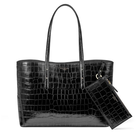 Regent Tote in Black Croc (with A-Stitched Side Panels) from Aspinal of London