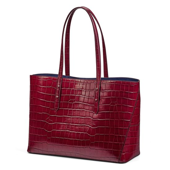 Regent Tote in Bordeaux Croc (with A-Stitched Side Panels) from Aspinal of London