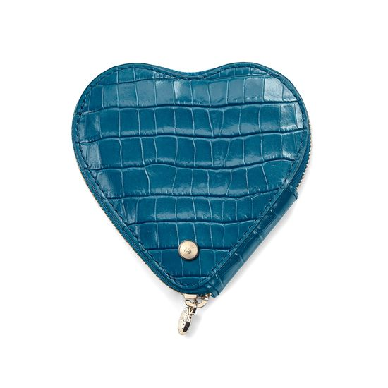 Heart Coin Purse in Deep Shine Topaz Small Croc from Aspinal of London