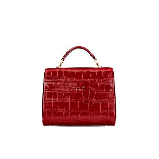 Midi Mayfair in Deep Shine Red Croc from Aspinal of London