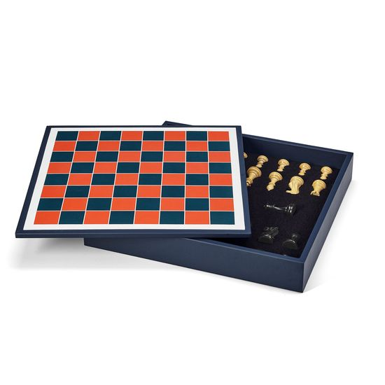 Chess Set in Red from Aspinal of London