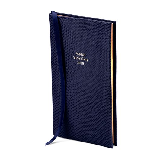 Aspinal Social Diary in Midnight Blue Lizard from Aspinal of London