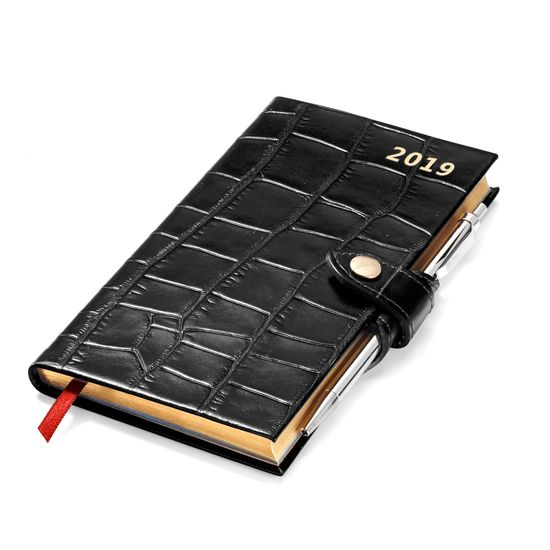 Slim Pocket Leather Diary with Pen in Deep Shine Black Croc from Aspinal of London