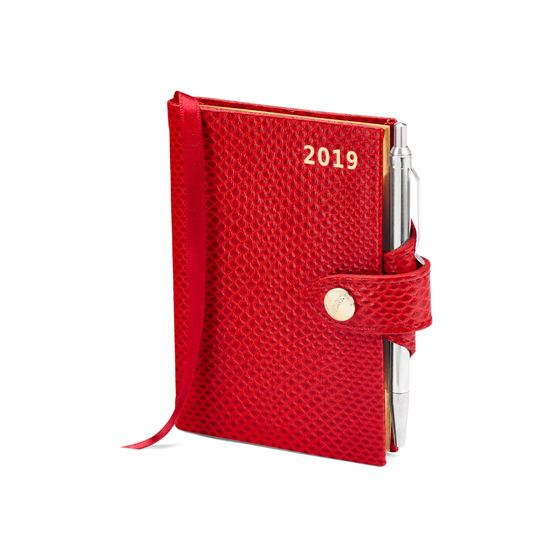 Mini Pocket Leather Diary with Pen in Berry Lizard from Aspinal of London