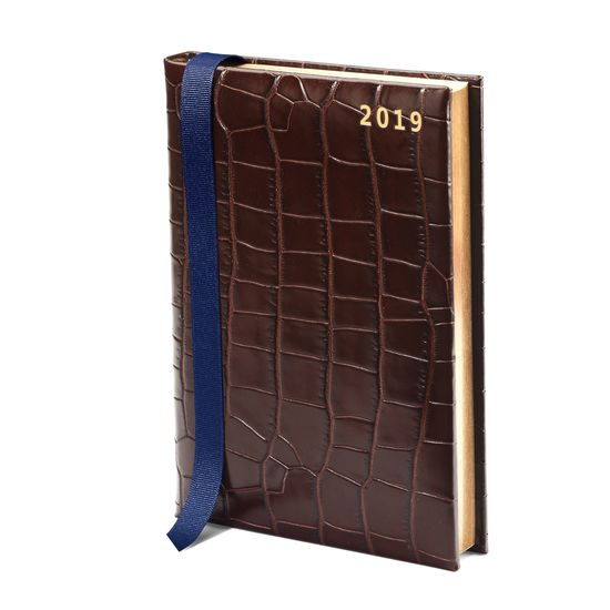 A5 Day to Page Leather Diary in Deep Shine Amazon Brown Croc from Aspinal of London