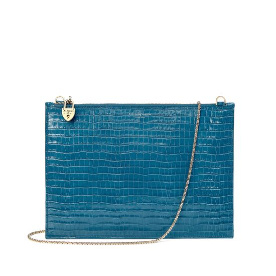 Soho Clutch in Deep Shine Topaz Small Croc from Aspinal of London
