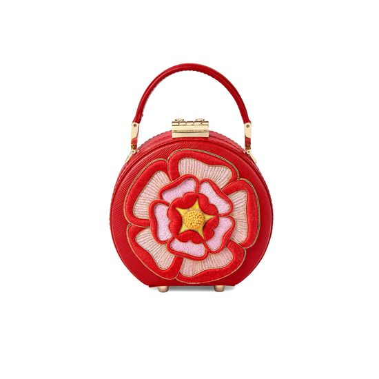 Micro Hat Box in Scarlet Saffiano with Rosette Embroidery from Aspinal of London