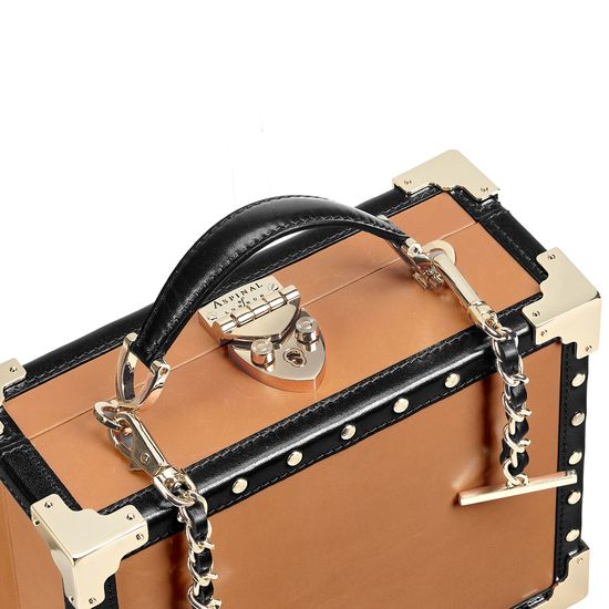 Mini Trunk Clutch in Smooth Tan with Studs from Aspinal of London