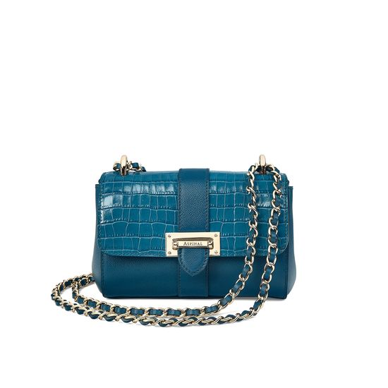 Micro Lottie Bag in Deep Shine Topaz Small Croc from Aspinal of London