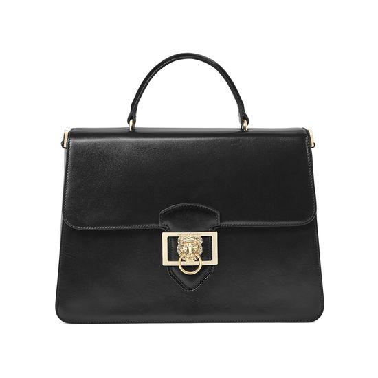 Large Lion Lansdowne Bag in Smooth Black from Aspinal of London