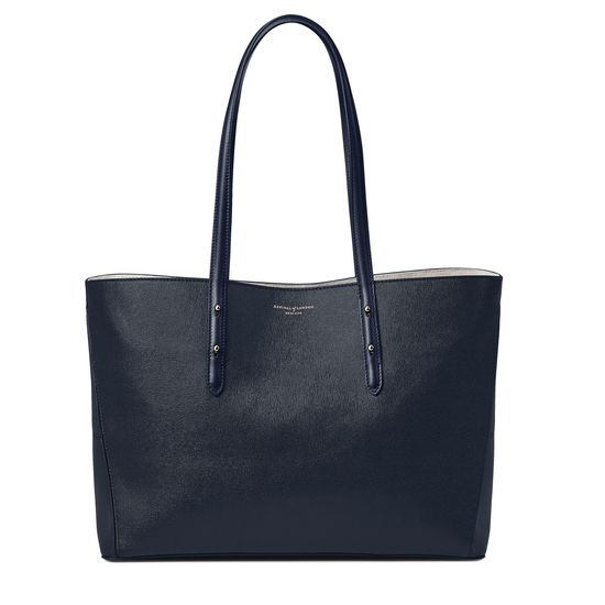 Regent Tote in Navy Saffiano (with A-Stitched Side Panels) from Aspinal of London