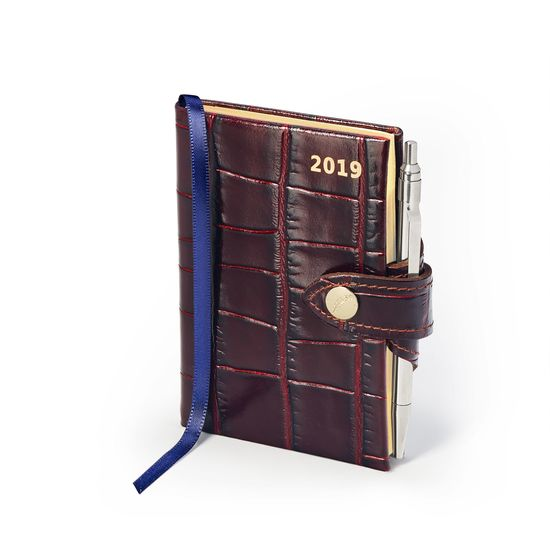 Mini Pocket Leather Diary with Pen in Deep Shine Amazon Brown Croc from Aspinal of London