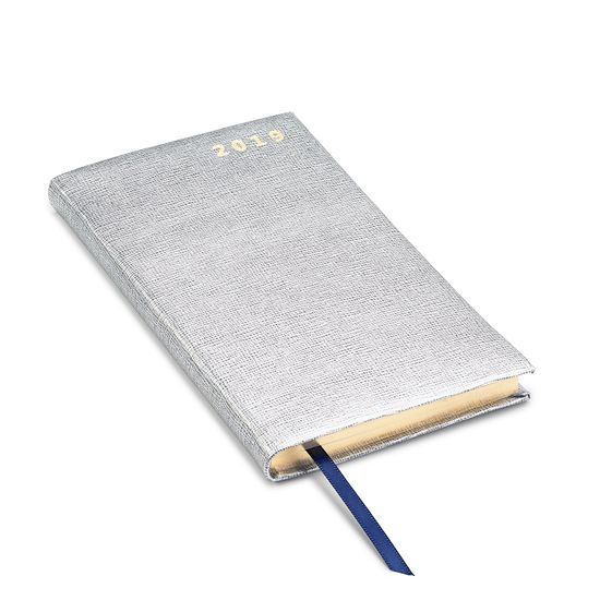 Slim Pocket Leather Diary in Silver Saffiano from Aspinal of London
