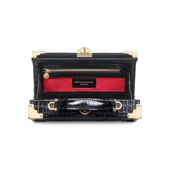 Trinket Box in Deep Shine Black Croc from Aspinal of London