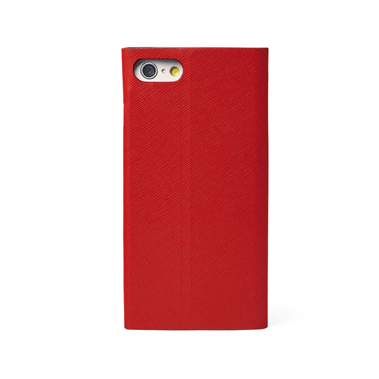 iPhone 7 Plus Leather Book Case in Scarlet Saffiano from Aspinal of London