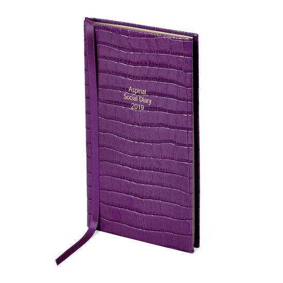 Aspinal Social Diary in Deep Shine Amethyst Small Croc from Aspinal of London