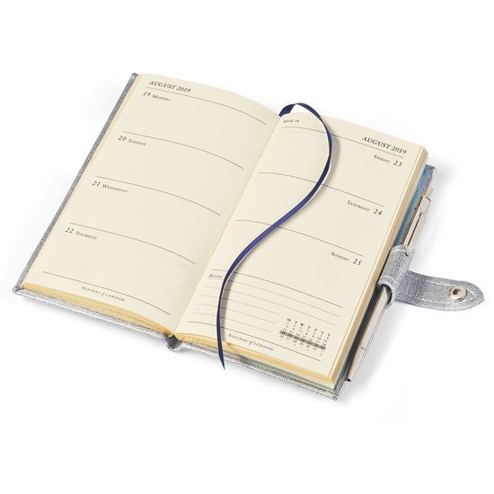 Slim Pocket Leather Diary with Pen in Silver Saffiano from Aspinal of London