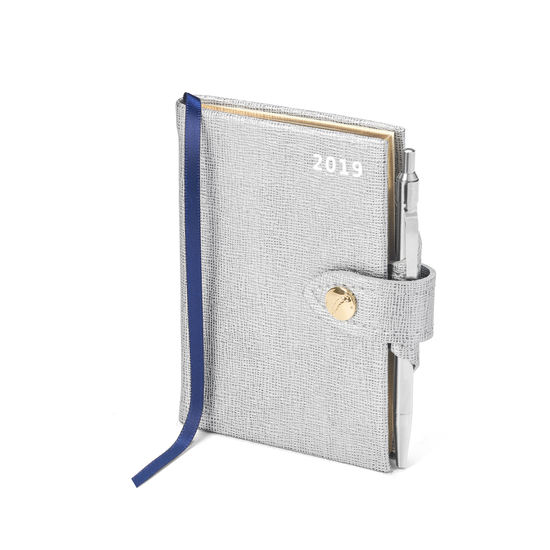 Mini Pocket Leather Diary with Pen in Silver Saffiano from Aspinal of London