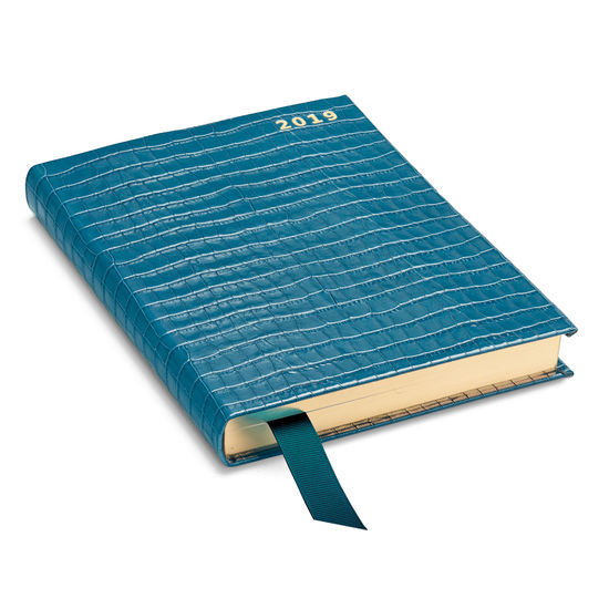A5 Day to Page Leather Diary in Deep Shine Topaz Small Croc from Aspinal of London