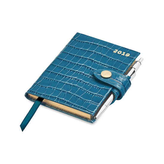 Mini Pocket Leather Diary with Pen in Deep Shine Topaz Small Croc from Aspinal of London