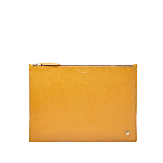 Mount Street Flat Pouch in Mustard Saffiano from Aspinal of London