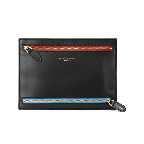 Multi Currency Wallet in Smooth Black with Multi-Coloured Zips from Aspinal of London