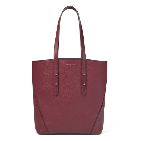 Essential Tote in Bordeaux Pebble (with A-Stitched Side Panels) from Aspinal of London