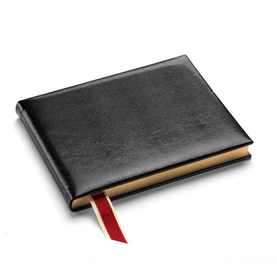 Lizard Print Guest Book in Jet Black Lizard from Aspinal of London