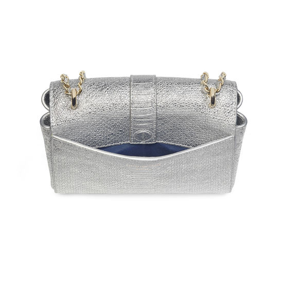 Small Lottie Bag in Silver Python Print from Aspinal of London