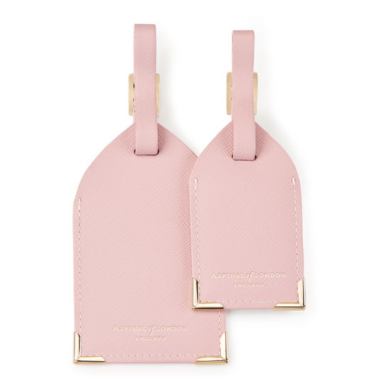 Set of 2 Luggage Tags in Peony Saffiano from Aspinal of London