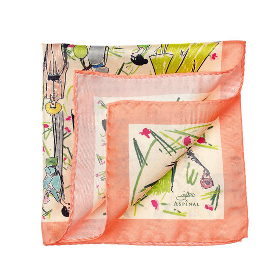 Giles x Aspinal (Pure Silk Pocket Square - Coral) from Aspinal of London