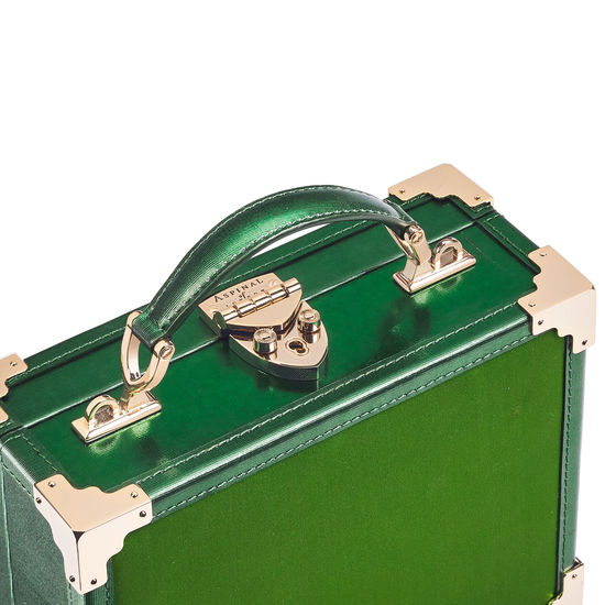 Giles x Aspinal (Mini Trunk - Green Satin) from Aspinal of London