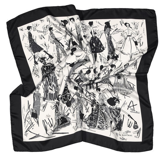 Giles x Aspinal (Ladies Silk Scarf - Monochrome) from Aspinal of London