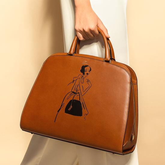 Giles x Aspinal (Hepburn Bag - Smooth Tan) from Aspinal of London