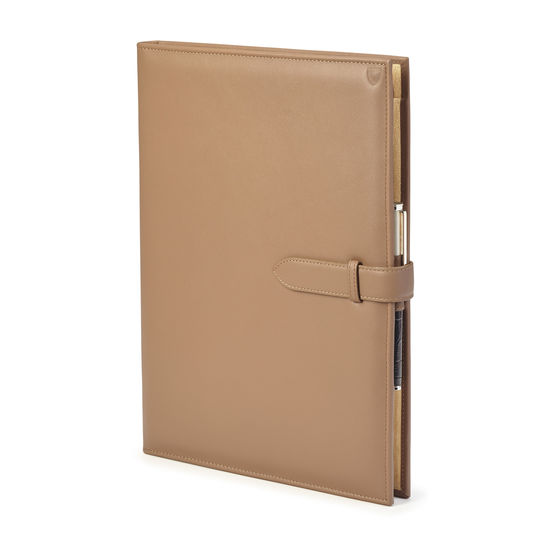 A4 Padfolio in Smooth Camel from Aspinal of London