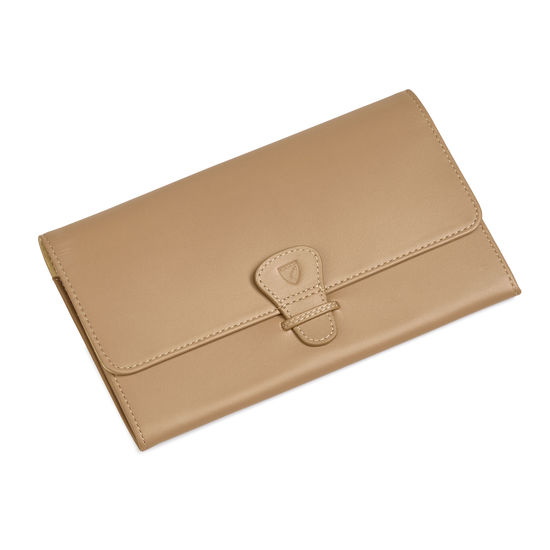 Classic Travel Wallet Smooth Camel from Aspinal of London