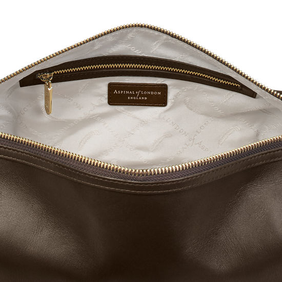 Men's Leather Washbag in Smooth Brown from Aspinal of London
